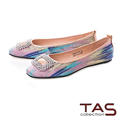 TAS 絢麗花紋金屬水鑽飾釦娃娃鞋-夢幻五彩