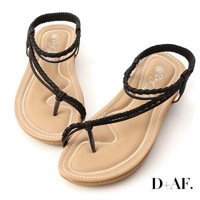 D+AF 假期氛圍.麻辮斜編織平底涼鞋*黑