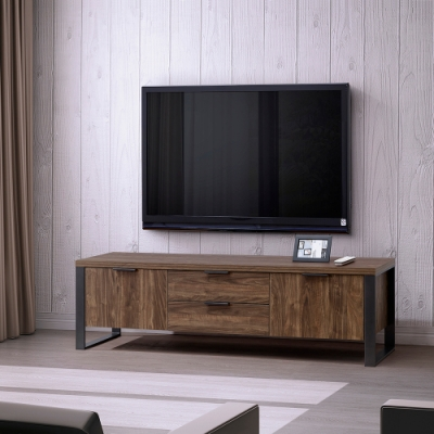 ALBBBRT兩門兩抽電視櫃-經典胡桃/DIY自行組合產品寬152.4深39.5*45公分