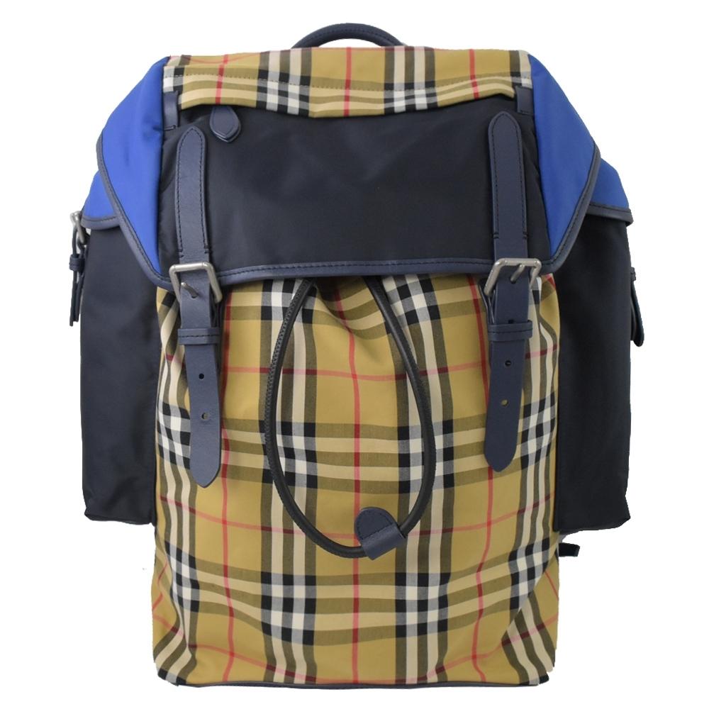 BURBERRY 經典格紋尼龍拼接款翻蓋後背包(藍)