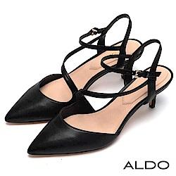 ALDO 原色幾何線條鏤空繫帶尖頭細跟涼鞋~尊爵黑色