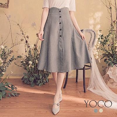 東京著衣-YOCO  女神魅力高腰假鈕釦中長傘裙-S.M.L(共兩色)