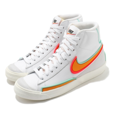 Nike 休閒鞋 W Blazer Mid 77 女鞋 Infinite 高筒 復古 穿搭 白 橘 DC1746100