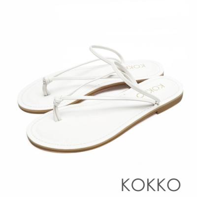 KOKKO渡假風鱷魚壓紋超細帶牛皮夾腳涼拖鞋清爽白