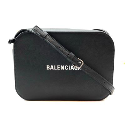 BALENCIAGA 品牌字母烙印小牛皮斜背相機包 (黑)