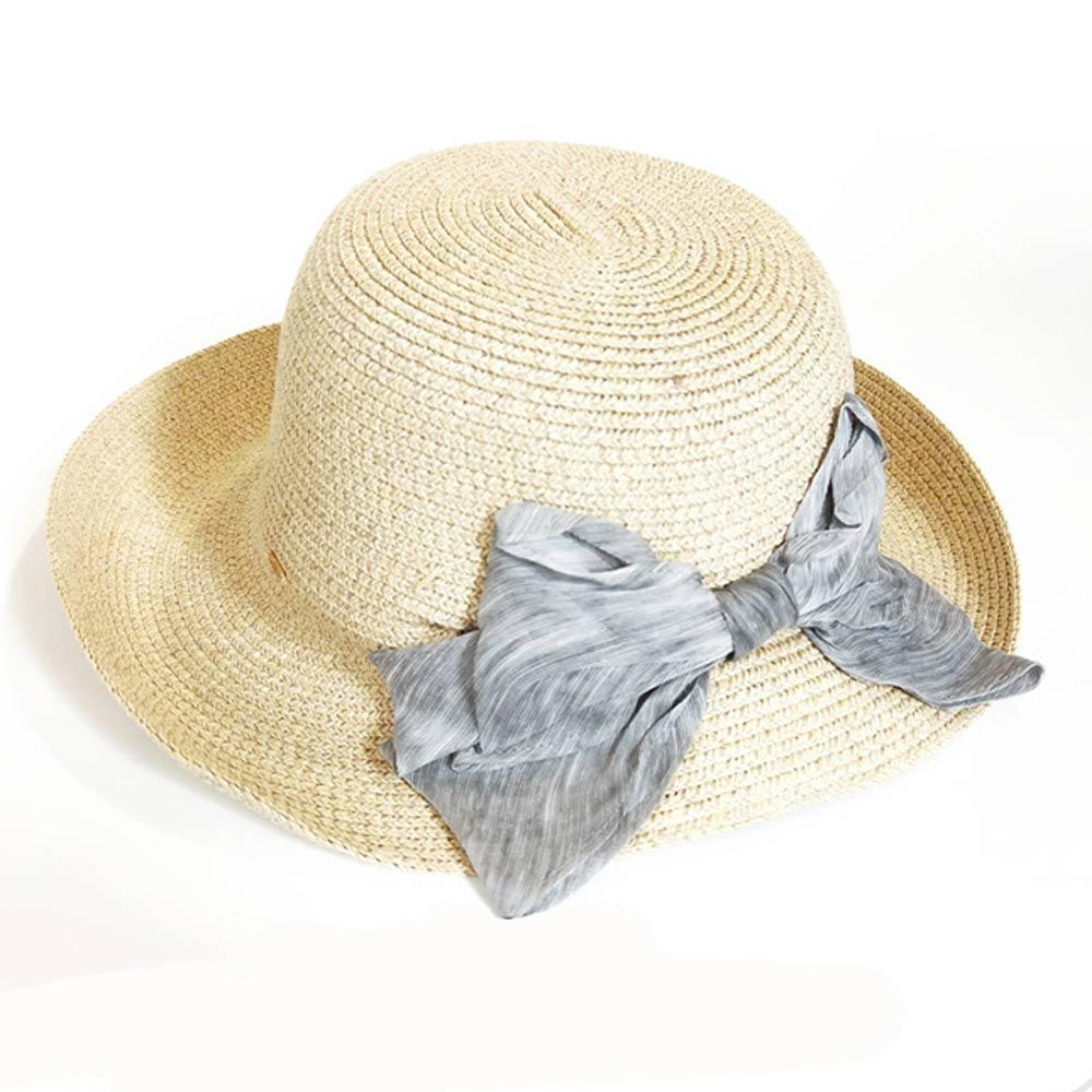 ELLE法式浪漫蝴蝶結裝飾遮陽帽戶外出遊草帽_卡其/粉