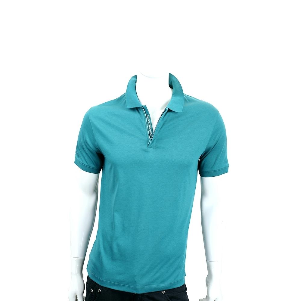 Emporio Armani 半開襟拉鍊設計藍綠色短袖POLO衫(男款)
