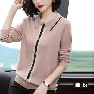 JILLI-KO 韓系OL造型釦配色翻領針織上衣- 粉/淺藍