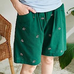 慢 生活 仙人掌刺繡棉麻寬短褲-綠色