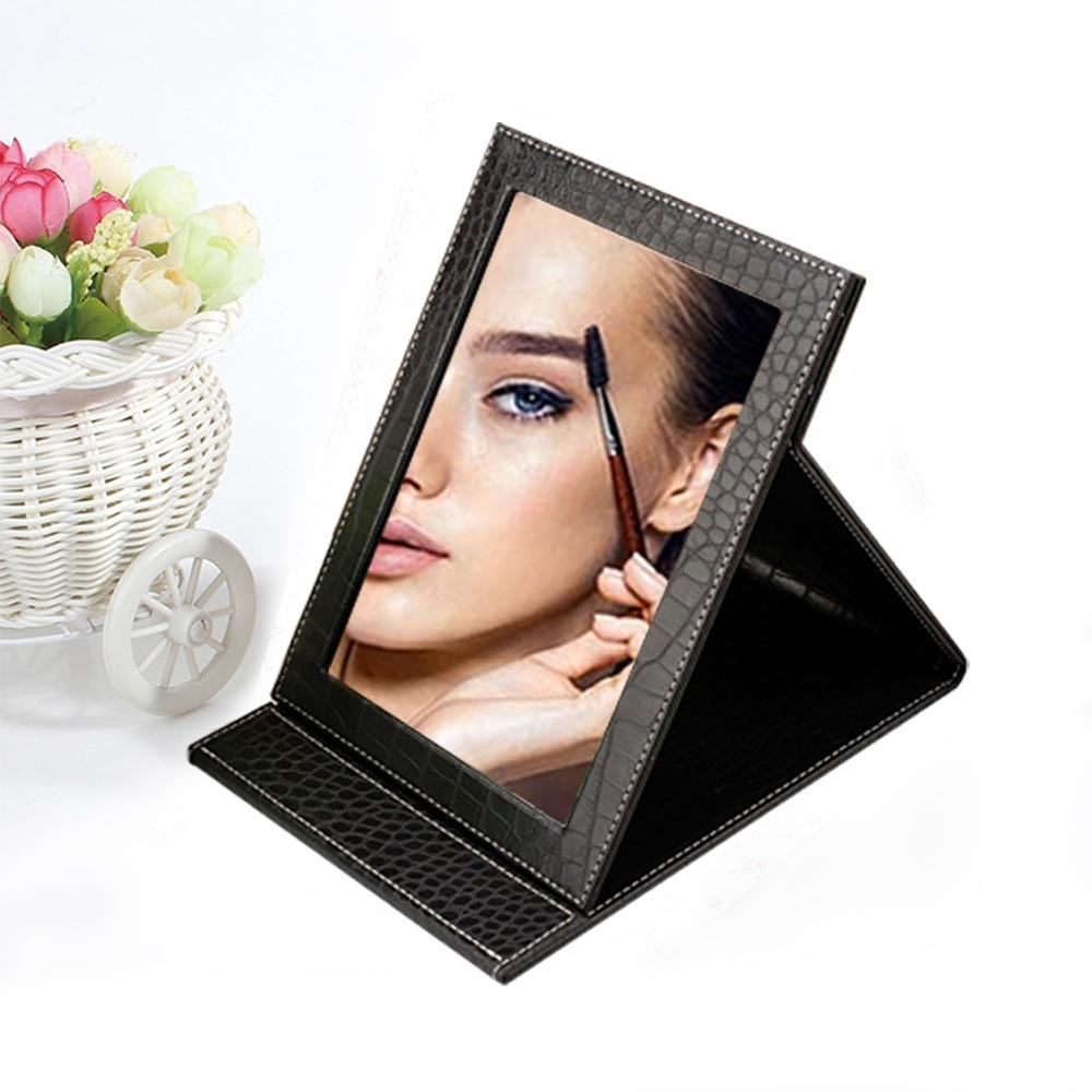 幸福揚邑 7吋皮革折疊化妝鏡質感彩妝桌鏡-鱷皮紋黑色