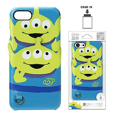 iPhone 8/7 迪士尼 皮革背蓋口袋 硬殼 4.7吋-可愛三眼怪