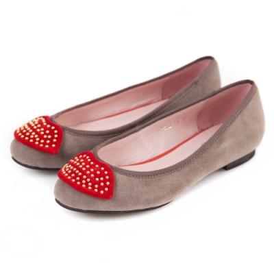 G.Ms.  羊麂皮鉚釘紅唇平底娃娃鞋-灰色