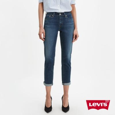 Levis 男友褲 中腰寬鬆版牛仔褲 中藍刷白 彈性布料 及踝款