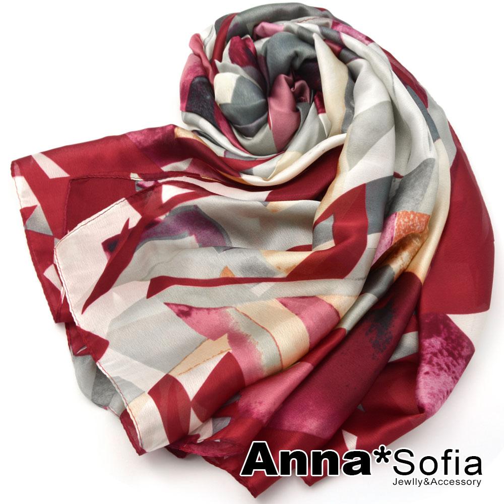 【滿額再75折】AnnaSofia 菱光漫拼色塊 亮緞面仿絲披肩絲巾圍巾(紅色) @ Y!購物