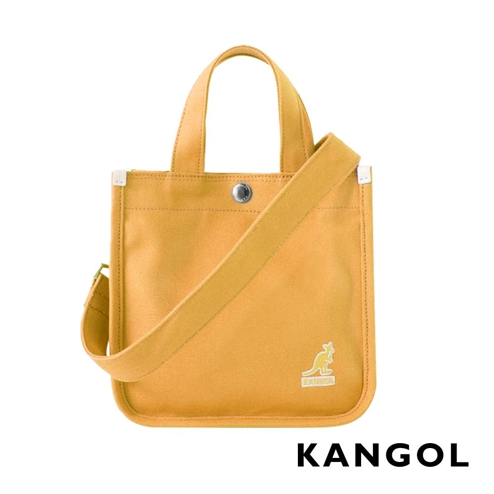 KANGOL 韓版極簡玩色-MINI帆布斜背小方包-鵝黃AKG1215