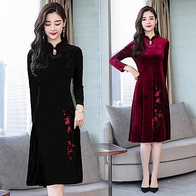 金絲絨洞口領刺繡旗袍洋裝M~3XL(共二色)-REKO