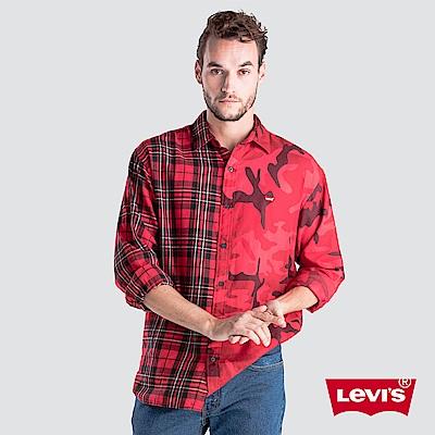 Levis 男款 襯衫 格紋迷彩拼接 布章LOGO