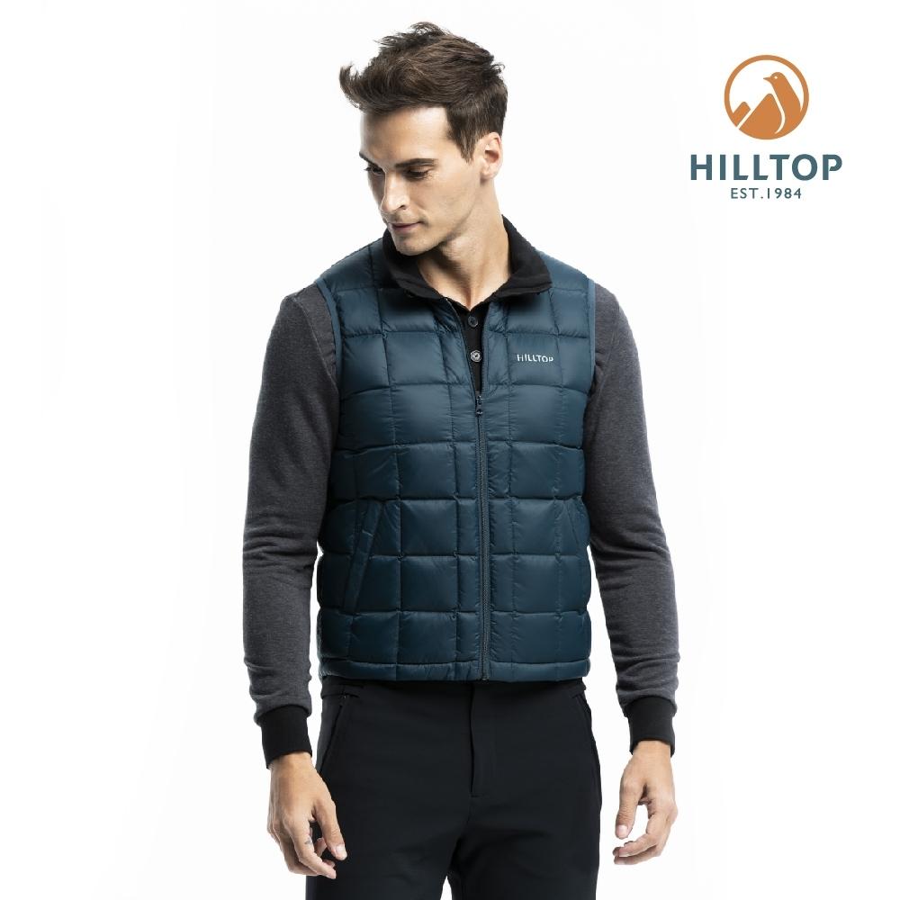 【hilltop山頂鳥】男款超潑水保暖蓄熱羽絨背心F25MF8樣衣藍