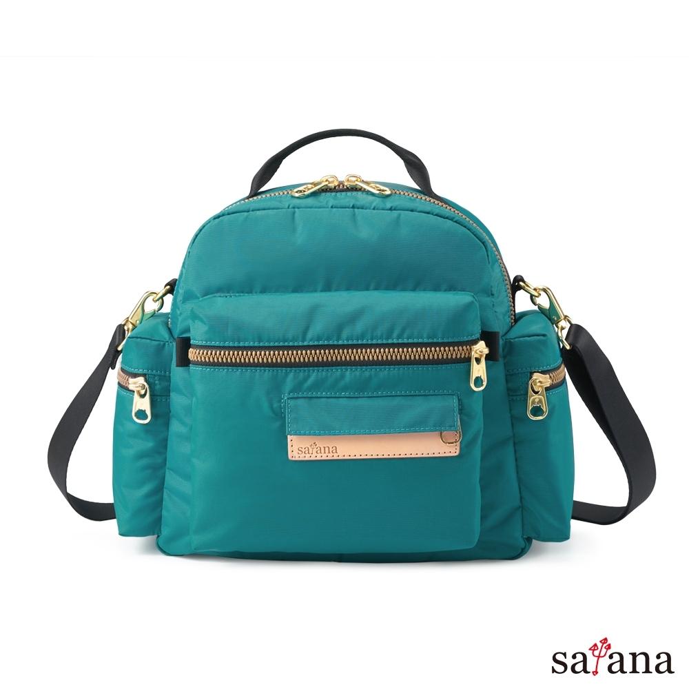 satana - 桃花朵朵後背包/斜背包 - 水鴨綠