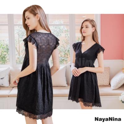 Naya Nina 荷葉蓋袖深V緹花蕾絲居家洋裝睡衣-黑F