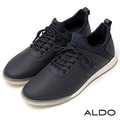 ALDO 原色幾何雙車線透氣孔綁帶式運動休閒男鞋~海軍藍色