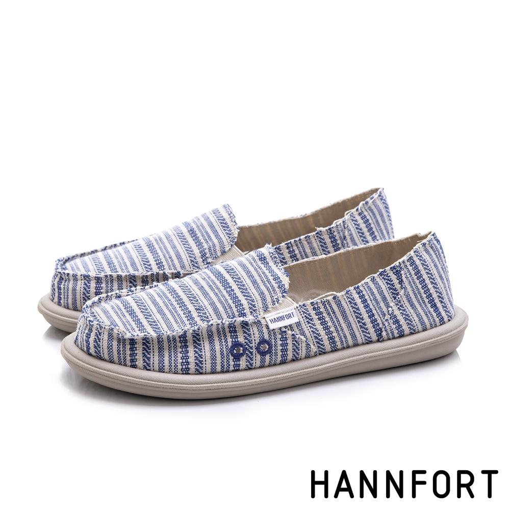 HANNFORT COZY 條紋舒適懶人鞋-女-藍