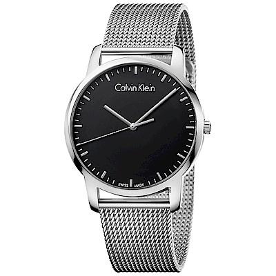 Calvin Klein CK City 極簡米蘭帶手錶(K2G2G12)-黑/43mm