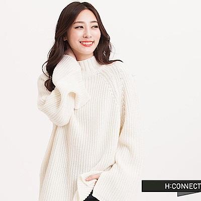 H:CONNECT 韓國品牌 女裝 - 中高領傘擺針織毛衣-白(快)