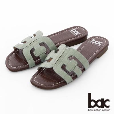 【bac】繽紛曼谷 -壓紋一片式鏤空繽紛色調平底拖鞋-綠色