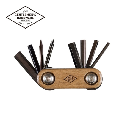 【Gentlemen s Hardware】口袋隨身腳踏車維修工具組-木頭握柄