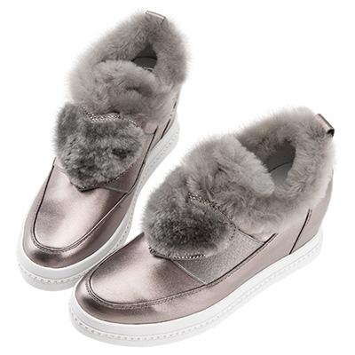 Robinlo 羊毛絨愛心鑲鑽內增高休閒鞋 錫灰