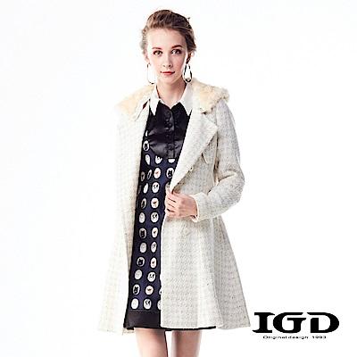 IGD英格麗 小香風毛海翻領長版羊毛外套-白色