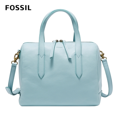 FOSSIL Sydney 輕量真皮波士頓包-土耳其藍色 SHB1978480