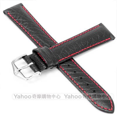 海奕施 HIRSCH Jumper L 紅縫線小牛皮錶帶 防水可清洗-黑