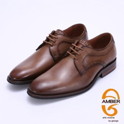 Amber 漸層擦色綁帶紳士皮鞋-咖啡色