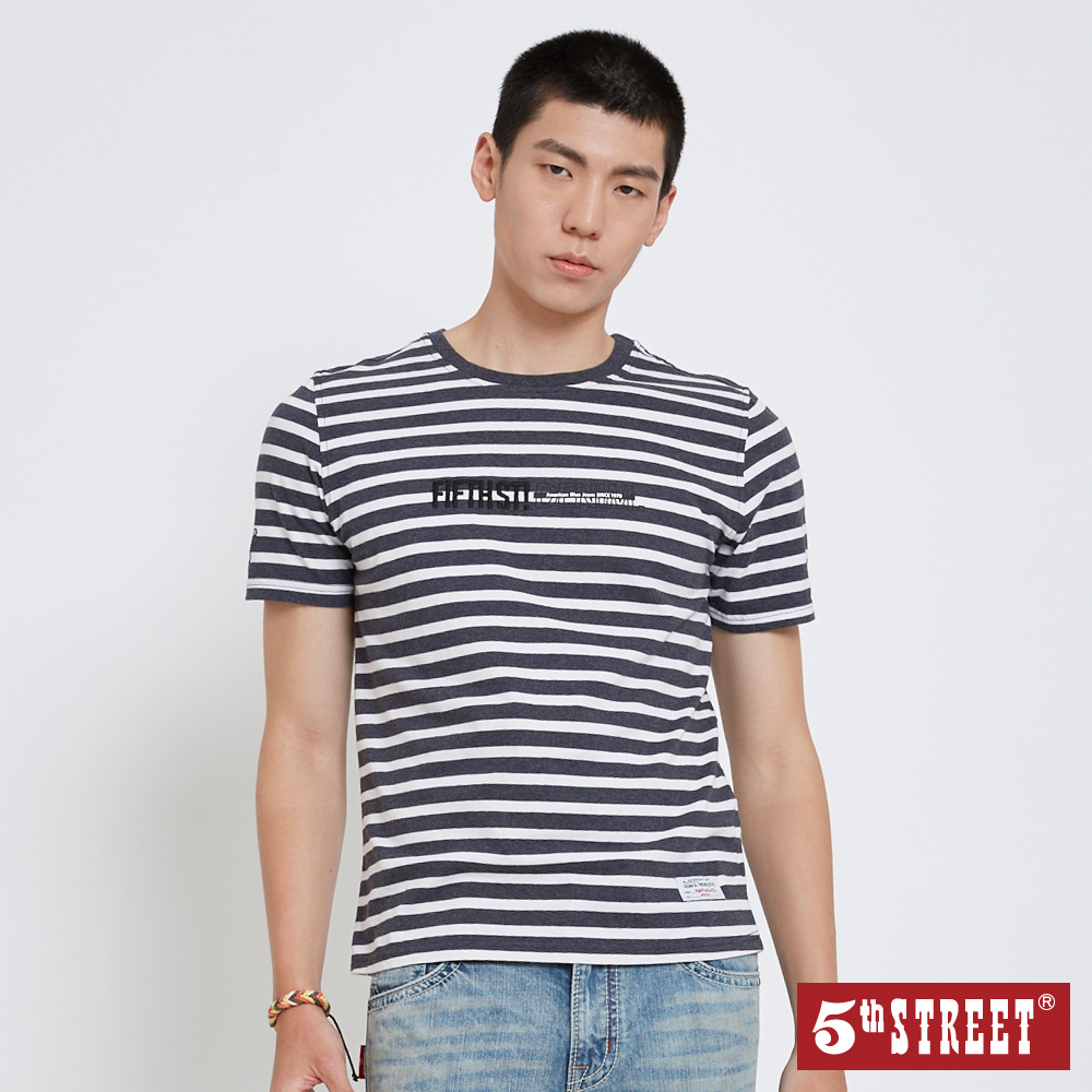 5th STREET 簡約印花條紋 短袖T恤-男-黑色