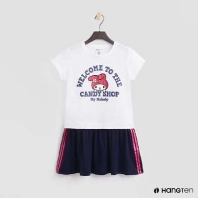 Hang Ten -童裝 - Sanrio-短袖亮眼圖樣拼接洋裝 - 白
