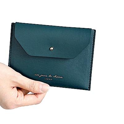 ICONIC 職人風格皮革票卡夾零錢包L-孔雀綠