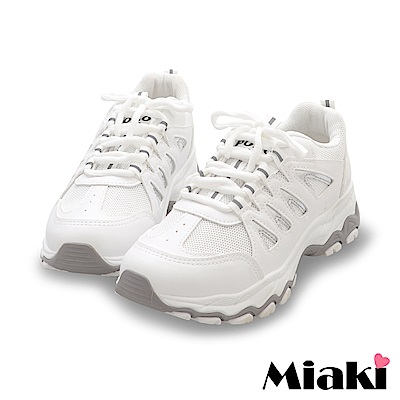 Miaki-休閒鞋.首爾必買厚底運動鞋-白