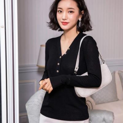 設計所在Lady-毛針織衫長袖修身休閒上衣(二色M-3XL可選)
