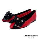 Tino Bellini絲帶蝴蝶結全真皮柔軟尖頭娃娃鞋_紅