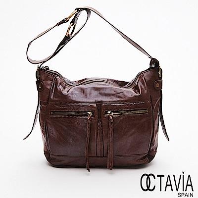 OCTAVIA 8 真皮 - 綠野仙踨  小牛皮雙口袋梯型字肩背中包 - 印第安棕