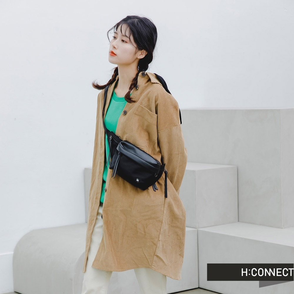 H:CONNECT 韓國品牌 女裝 -長版燈芯絨連帽襯衫洋裝-卡其
