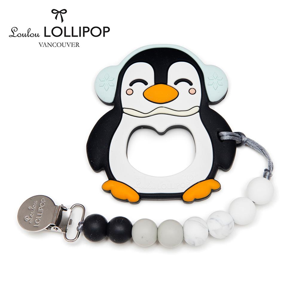 加拿大Loulou lollipop嬰幼兒胖胖企鵝 固齒器組/奶嘴鍊夾-大理石黑