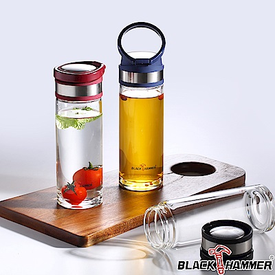 Black Hammer 巧緹耐熱玻璃水瓶-530ml-3色可選 (附布套)