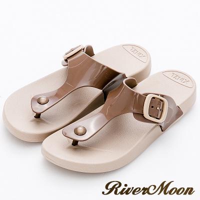 River&Moon拖鞋-休閒百搭Q軟防水夾腳涼拖鞋-棕色