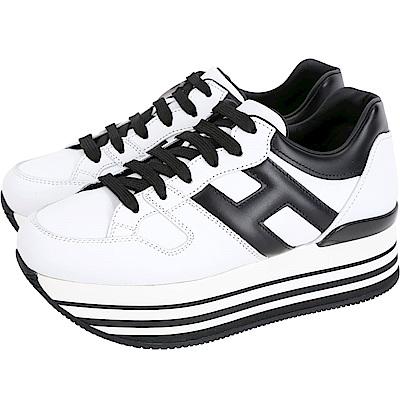 HOGAN Maxi H222 皮革裡白色厚底繫帶休閒鞋