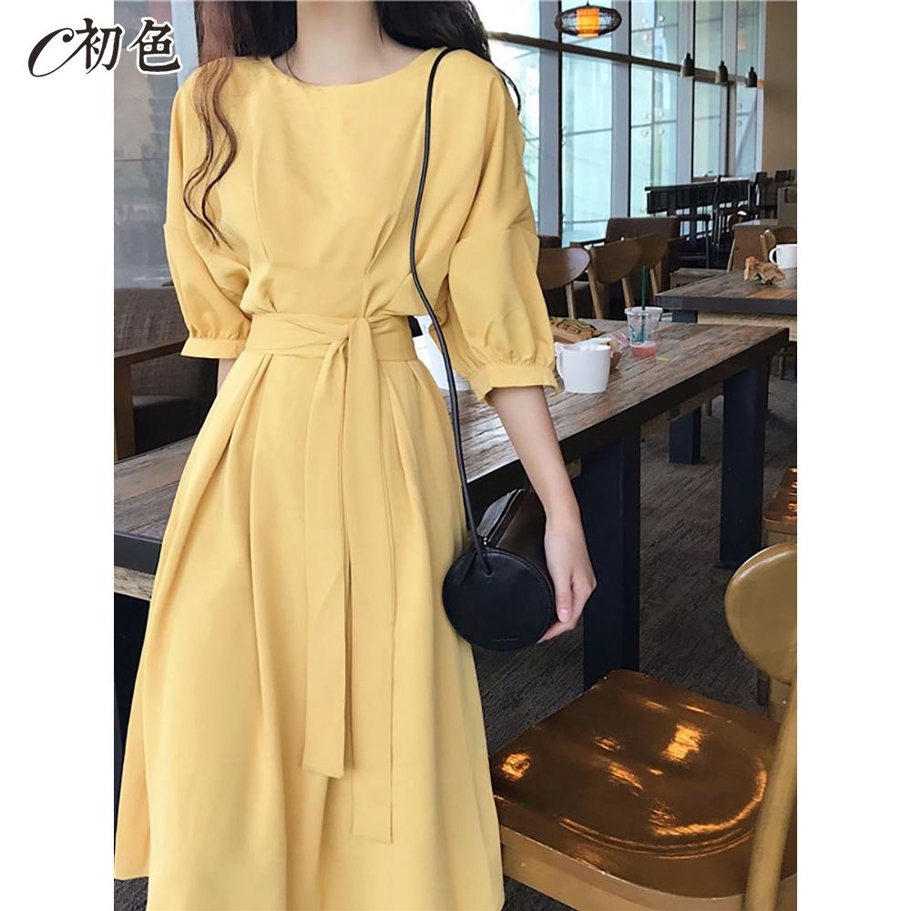 初色  法式浪漫高腰綁帶洋裝-共3色-(M-XL可選)
