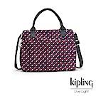 Kipling 手提包 紅藍幾何印花-大