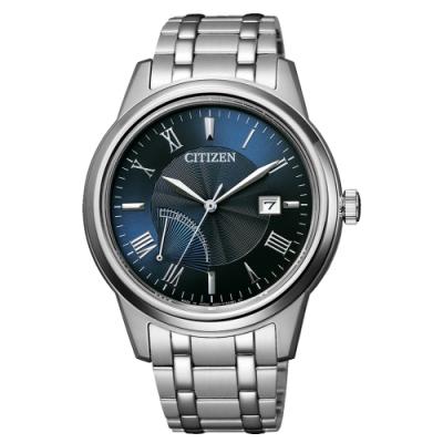 CITIZEN  GENT S光動能時尚波動腕錶-銀X藍(AW7001-98L)/41mm